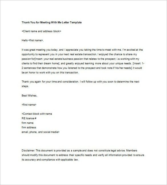 Real Estate Thank You Letter – 5+ Free Sample, Example Format ...