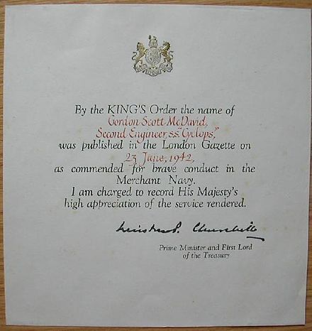 King's Commendation for Brave Conduct (1916-1952) - Wikiwand
