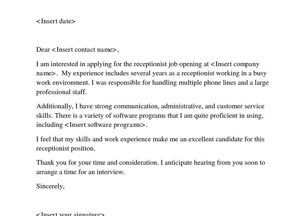 choose. cover letter for receptionist receptionist cover letter ...