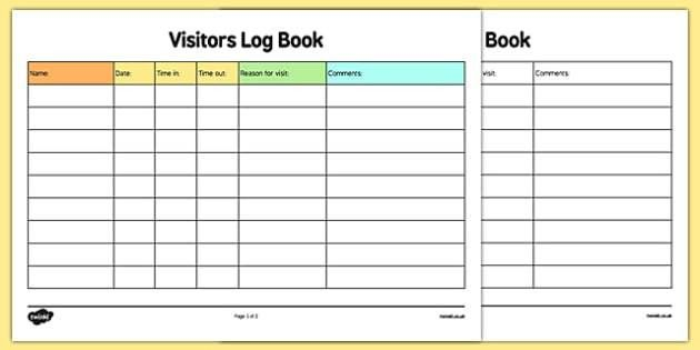 visitors sign in sheet