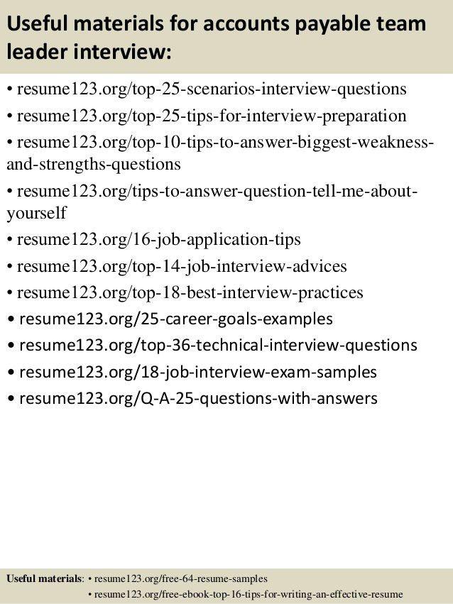 Top 8 accounts payable team leader resume samples