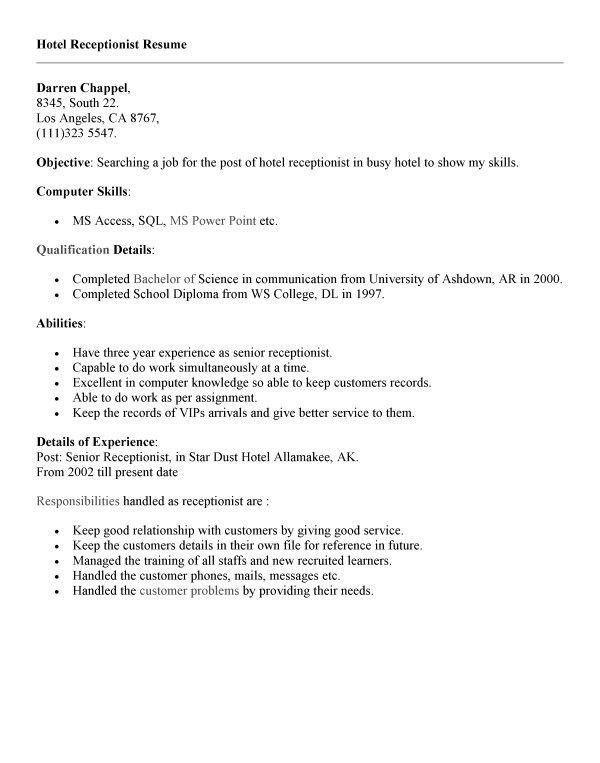 30+ Effective Resume Samples for Receptionist Position : Vinodomia