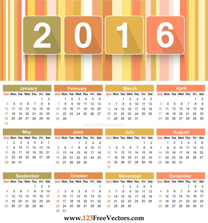 Download 2016 Calendar Template by 123freevectors on DeviantArt