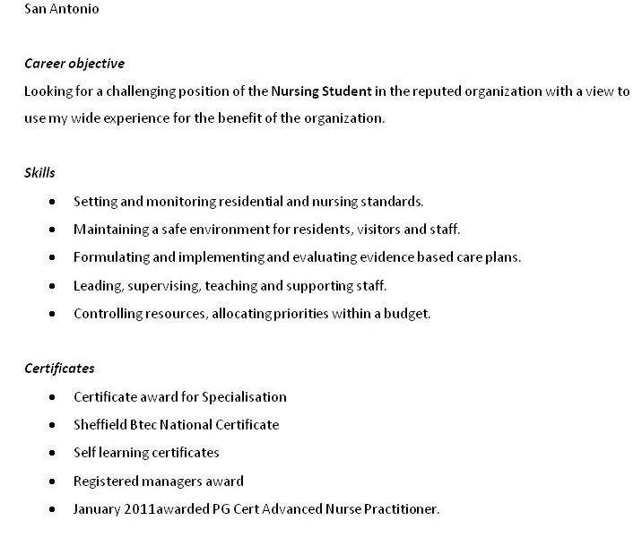 Student Nurse Resume Objective - Resume CV Cover Letter