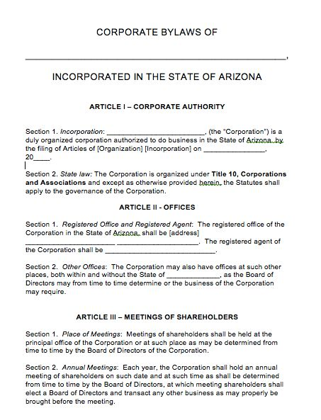 Free Arizona Corporate Bylaws Template | PDF | Word |