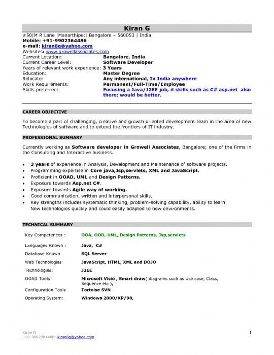 Tcs Resume Format