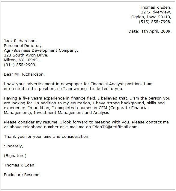 analyst cover letter examples finance cover letter samples inside ...