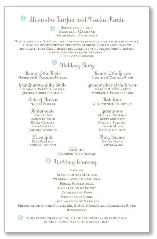 one page wedding ceremony programs | pretty header with your names ...