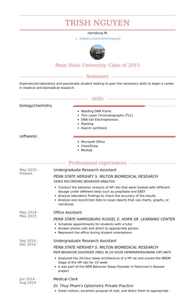 Wissenschaftliche Hilfskraft CV Beispiel - VisualCV Lebenslauf ...