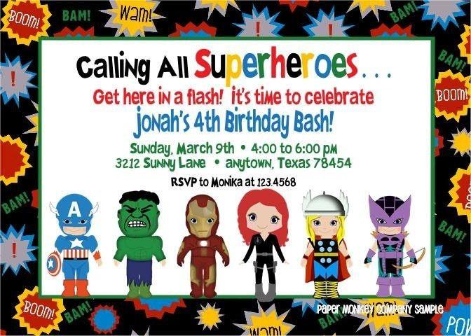 Free Superhero Birthday Invitations Templates