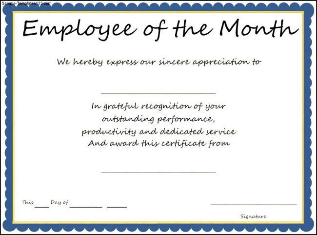 Interesting Certificate Template Example for Employee of The Month ...