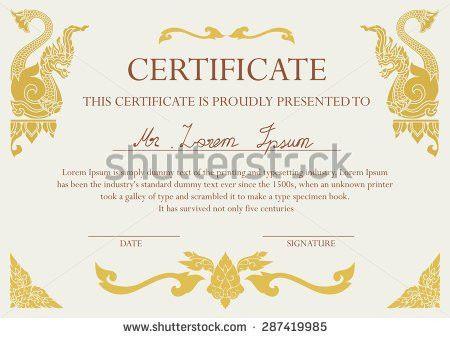 Certificate Design Template Thai Art Frame Stock Vector 287419985 ...