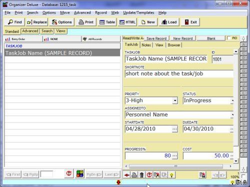 Free Task Job Manager 1 database template for Organizer Deluxe and ...