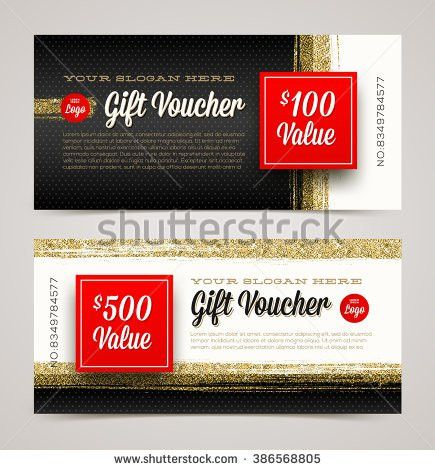 Gift Voucher Template Glitter Gold Vector Stock Vector 386568805 ...