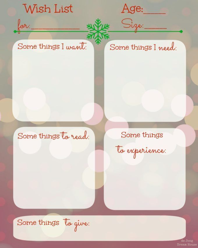 Printable Birthday Wish List Template With Christmas Theme : Vlcpeque