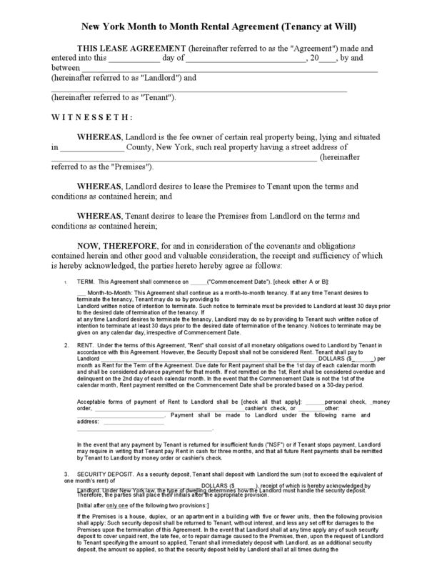 New York Rental Lease Agreement Templates | LegalForms.org