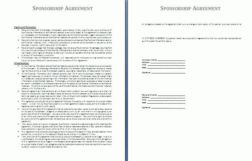 Sponsorship Contract Template. Event Forms & Fundraising Form ...
