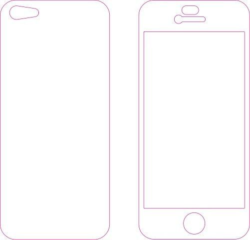 Iphone 5 or 5s Skin template for cutting or machining