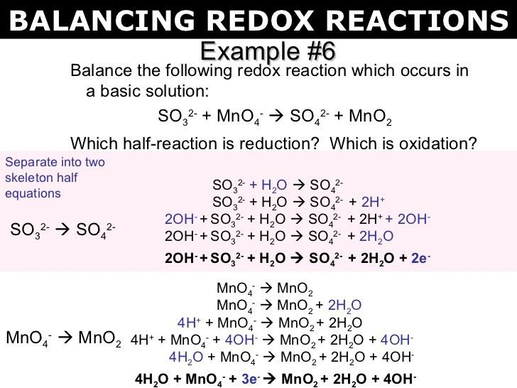 Example #6 <ul><li>Balance the following redox reaction which ...