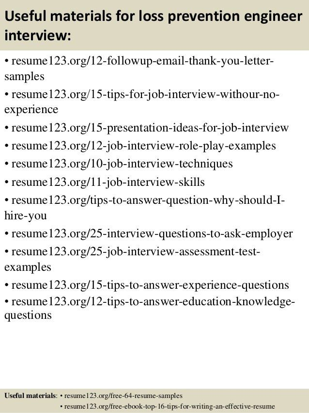 Top 8 loss prevention engineer resume samples
