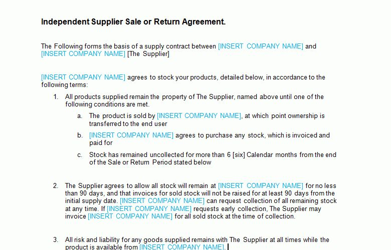 Sale or Return Agreement Template - Bizorb