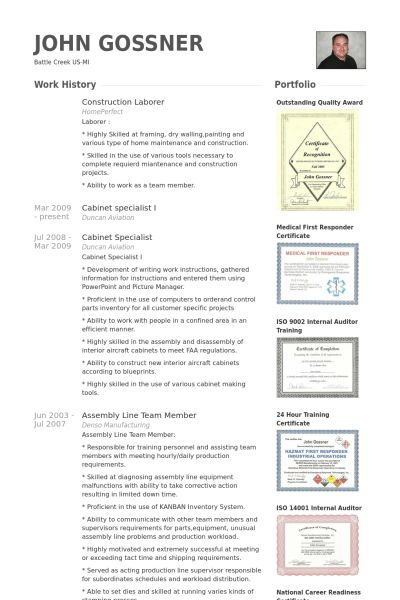 Laborer Resume samples - VisualCV resume samples database
