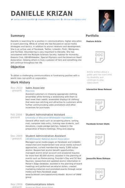 Sales Associate Resume samples - VisualCV resume samples database