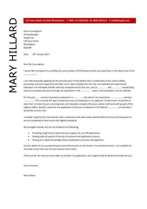 Cover Letter Human Resources Assistant | The Letter Sample