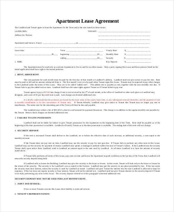 Apartment Lease Agreement - 9+ Free PDF, Word Download Documents ...