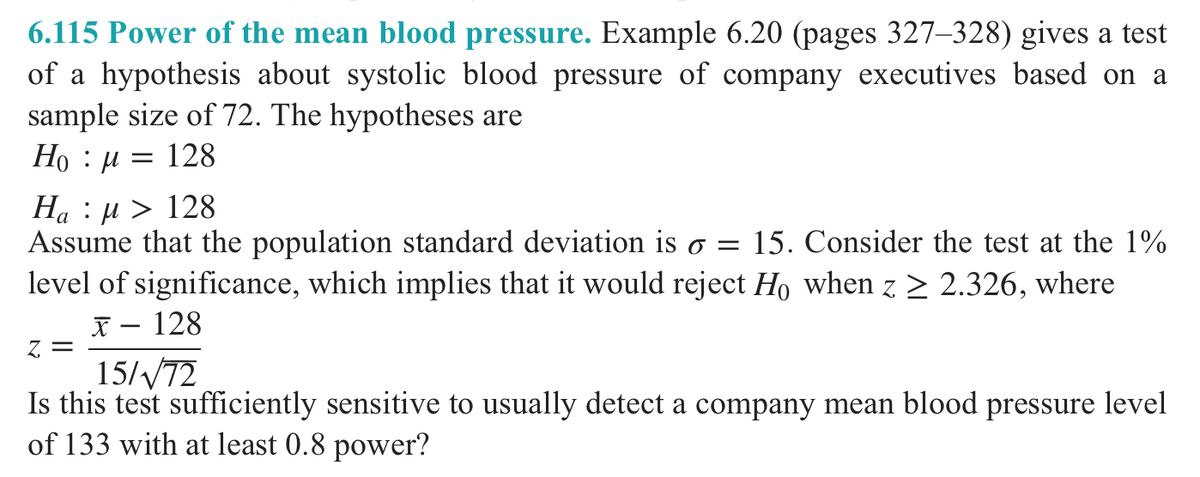 Power Of The Mean Blood Pressure. Example 6.20 Giv... | Chegg.com