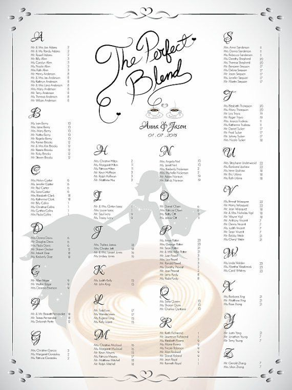 DIY Printable Wedding Or Bridal Shower Single Seating Chart ...
