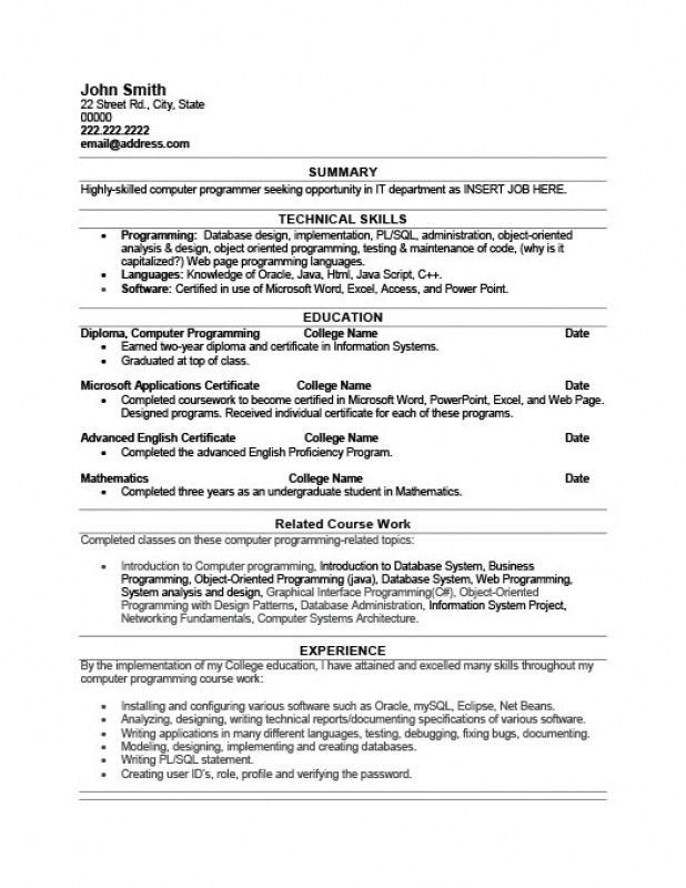 computer programmer resume samples