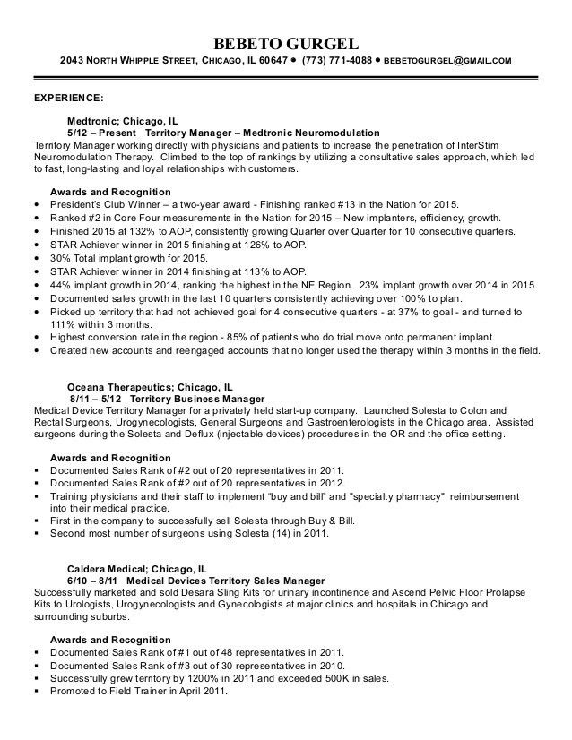 resume cover letter for medical device sales. sample resume for ...