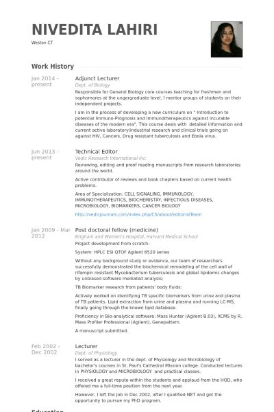Adjunct Lecturer Resume samples - VisualCV resume samples database