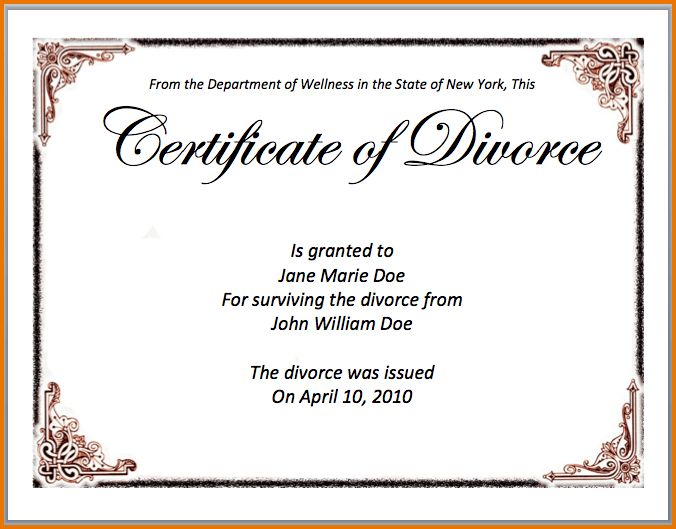 divorce document template | Divorce Document