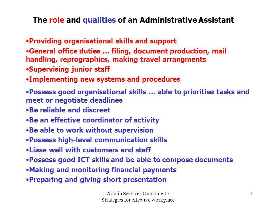 The role and qualities of an Administrative Assistant - ppt video ...