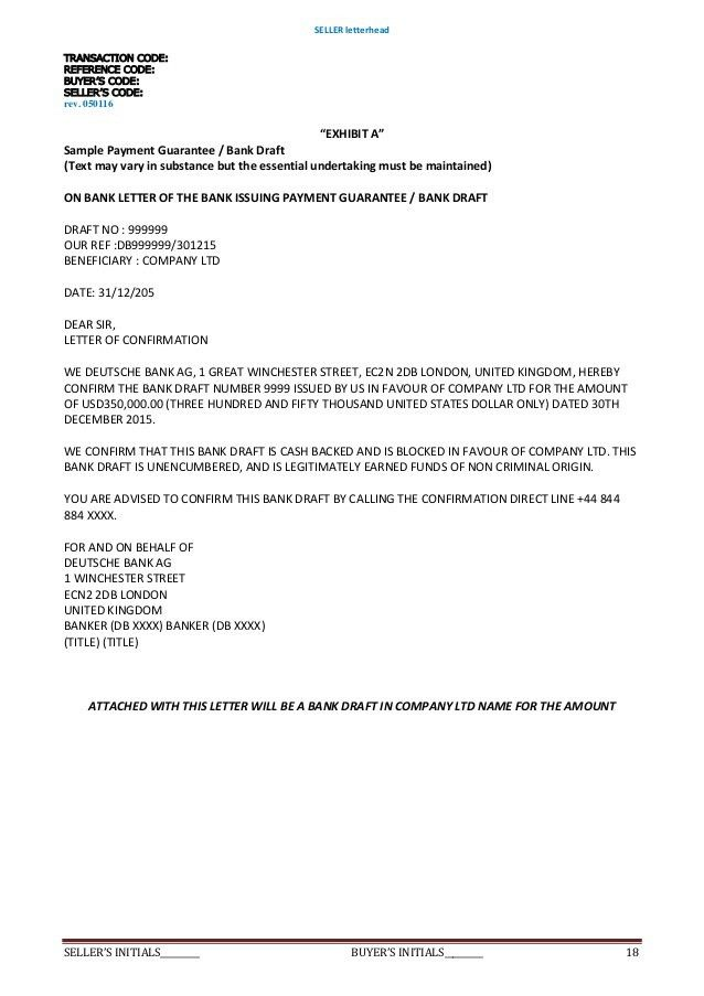 Sample undertaking letter undertaking of indemnification director deed of agreement purchase sblc 352 rwapayment guaranteesecurity d spiritdancerdesigns Gallery