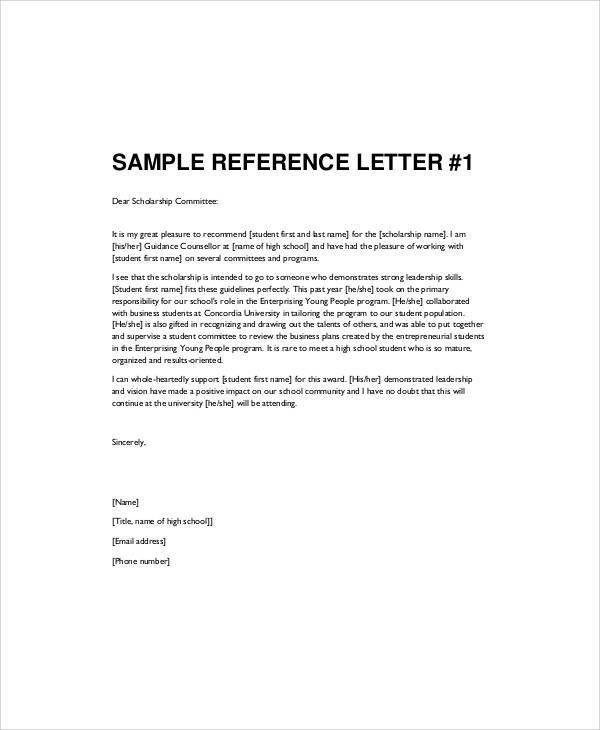 Sample Recommendation Letter for High School Student - 6+ Examples ...