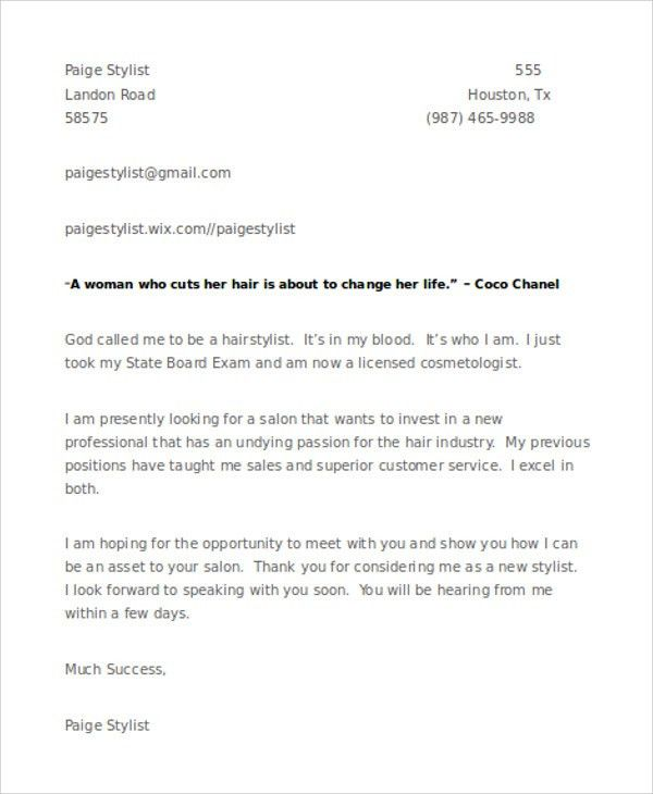 8+ Hair Stylist Cover Letter Templates -Sample ,Example | Free ...