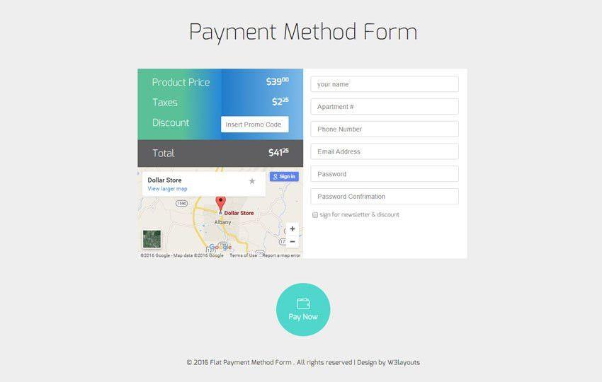 Payment Method Form Responsive Widget Template - w3layouts.com