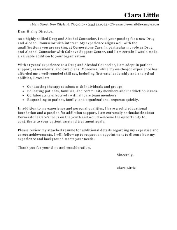 Best Drug and Alcohol Counselor Cover Letter Examples | LiveCareer