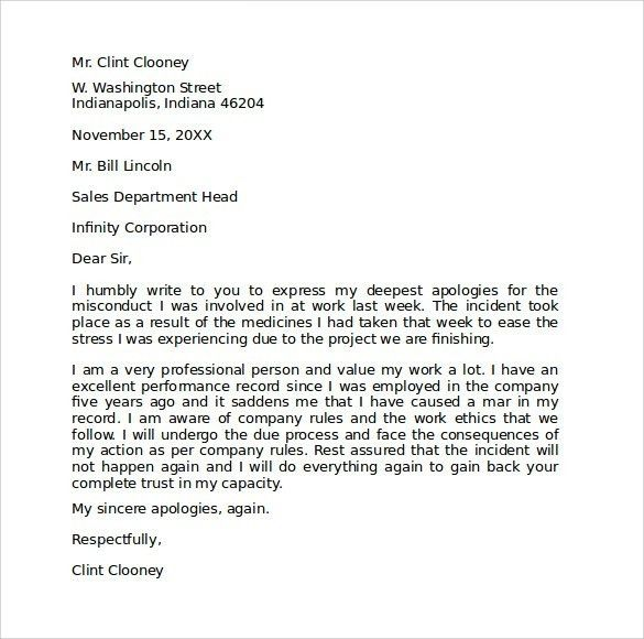 Apology Letter To Boss Apology Letter To Boss For Poor – Format of Apology Letter