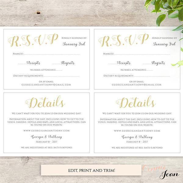 Printable Wedding Invitation, RSVP, Information templates, modern ...
