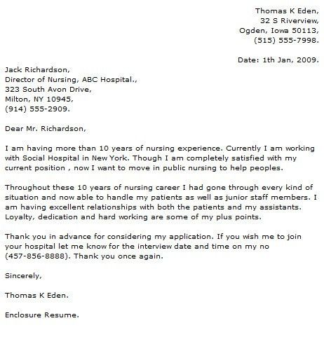 Sample Nursing Cover Letter Example. Graduate Nurse Cover Letter ...
