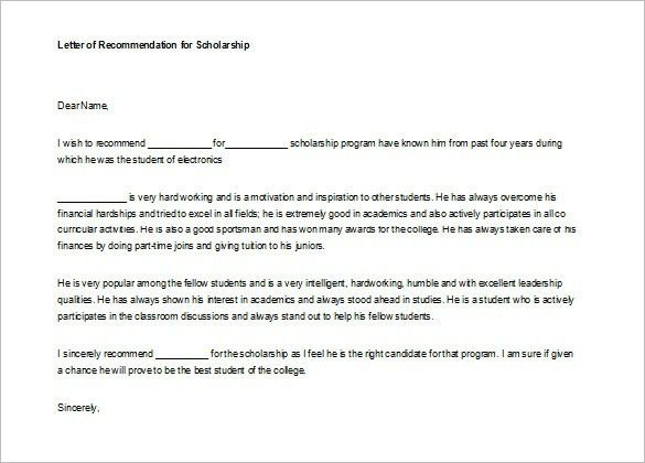 9 Letter Of Recommendation For Student Free Sample Example ...