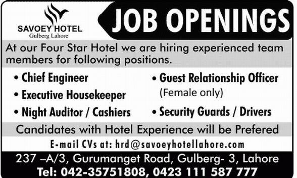Engineer Job in Savoey Hotel Gulberg Lahore, Guest Relationship ...