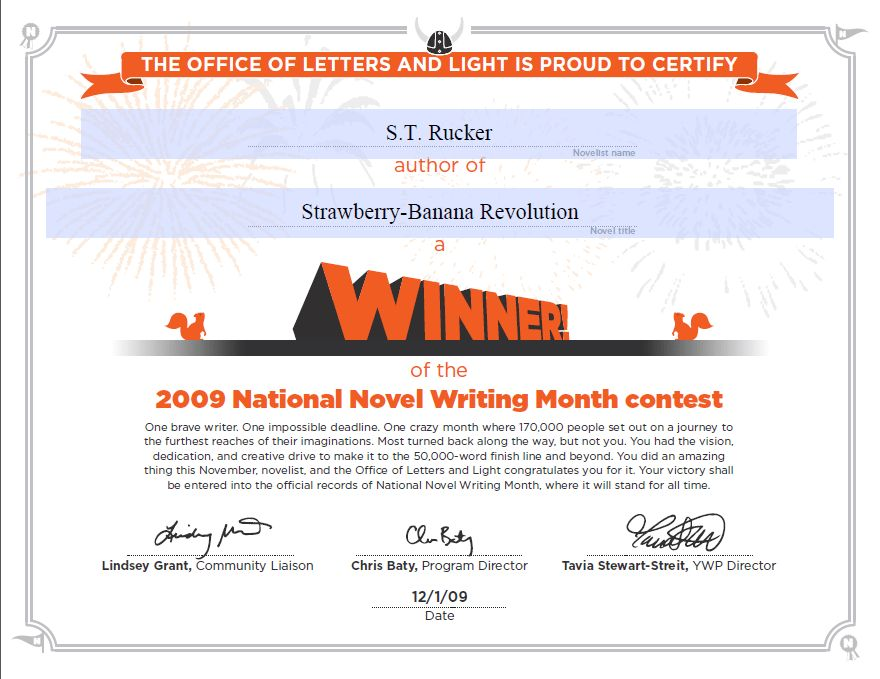 National Novel Writing Month Certificates – Sepia Heaven
