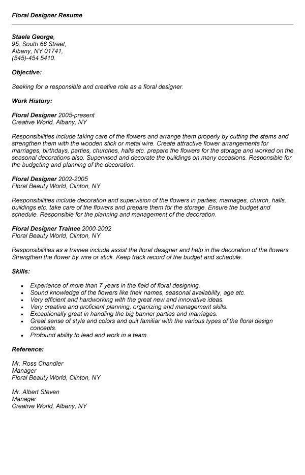 Floral Designer Resume Template. unique resume design idea ...