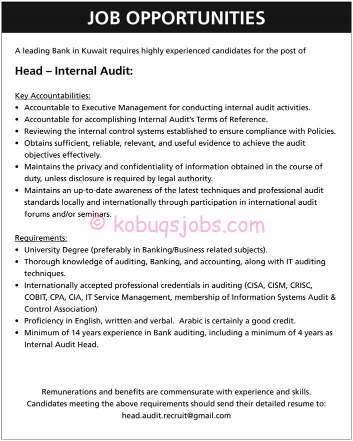 Head - Internal Audit Required by a Bank in Kuwait | KOBUQS