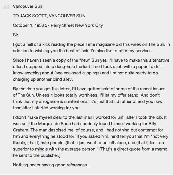 Hunter S Thompson Cover Letter | The Letter Sample